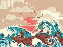 Retro Sea Waves And Tropical Island