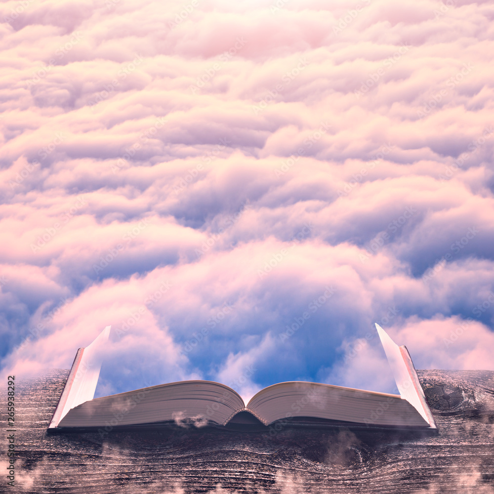 Pink clouds on the pages of book