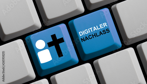 Fotografie, Obraz  Blaue Computer Tastatur: Digitaler Nachlass