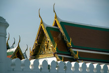Roof Tops Of Grand Palace From Na Phra Lan Road, Bangkok, Thailand