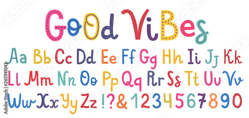 Photo  Uppercase and lowcase cute alphabet font.