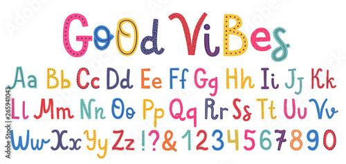 Fotografia Uppercase and lowcase cute alphabet font.
