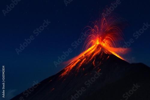 Fuego Volcano eruption, view from volcano Acatenango, Guatemala Wallpaper Mural