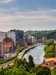 Views of the Abandoibarra promenade next to the river in Bilbao