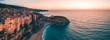 canvas print picture - Tropea, vista aerea della città in Calabria che si affaccia sul Mare Mediterrano al tramonto.