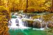 Beautiful waterfall in wonderful autumn forest of national park, Huay Mae Khamin waterfall, Kanchanaburi Province, Thailand