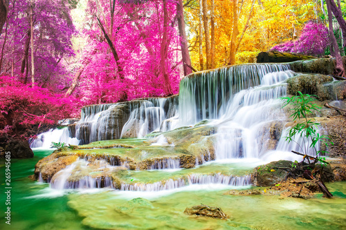 .Beautiful waterfall in wonderful autumn forest of national park, Huay Mae Khamin waterfall, Kanchanaburi Province, Thailand - 265945685