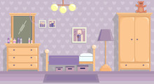 The Teenage Girls Room In Lilac . Vector Image In Flat Design Style.