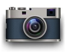 Retro Photo Camera 3D Icon, Vector Illustration