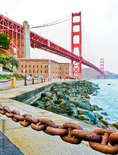 View of Golden Gate Bridge along the coastline in San Francisco.