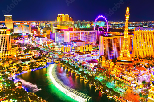 View of the Las Vegas Boulevard at night with lots of hotels and casinos in Las Vegas Wallpaper Mural
