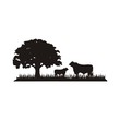 Cattle Angus & Grass silhouette