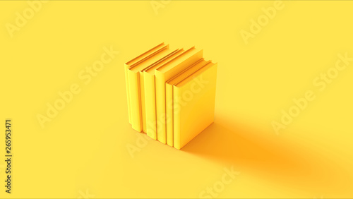 Fotografering  Yellow Row of Books 3d illustration 3d render