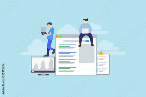 Modern Flat design people and SEO optimized pages business concept, with tiny people character for web landing page template, banner, flyer and presentation Canvas Print