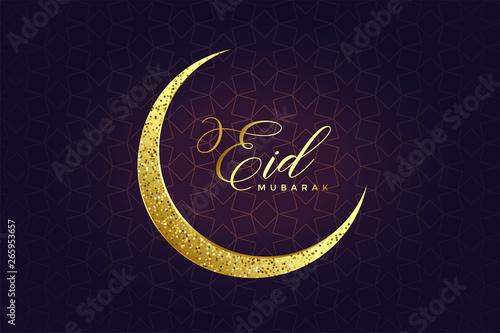 Foto golden glitter eid moon design background