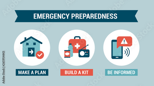 Fotografia  Emergency preparedness instructions