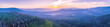 Leinwanddruck Bild - Wide aerial panorama of beautiful sunset over mountains in Yarra Ranges National Park, Victoria, Australia