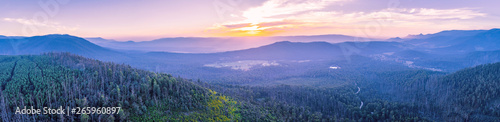 Wide aerial panorama of beautiful sunset over mountains in Yarra Ranges National Park, Victoria, Australia