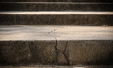 Broken Old Concrete Staircase With Cracked Background Texture