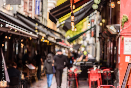 plakat Hardware Lane in Melbourne, Australia is a popular tourist area filled with cafes and restaurants featuring al fresco dining.
