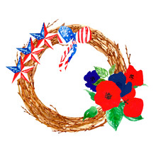 Patriotic Decor. Memorial Or Remembrance Day Wreath With Poppies And Striped Stars. Red, Blue And White Colors Of US Flag.