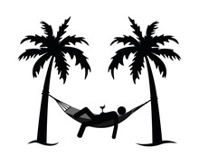 Man In A Hammock Between Palms Pictogram Isolated On White Background Vector Illustration EPS10