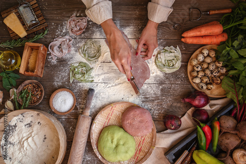 Process of making cooking homemade pasta Canvas Print