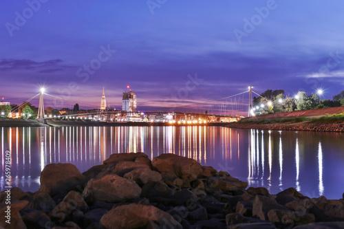 Fototapeten view of the Osijek city at night Croatia