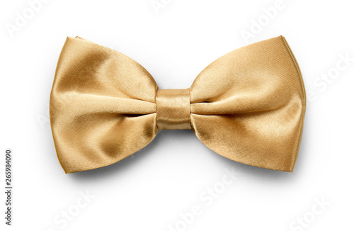 Cuadros en Lienzo Gold color bow tie isolated on white background with clipping path