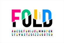 Folded Style Colorful Font Design, Alphabet Letters And Numbers