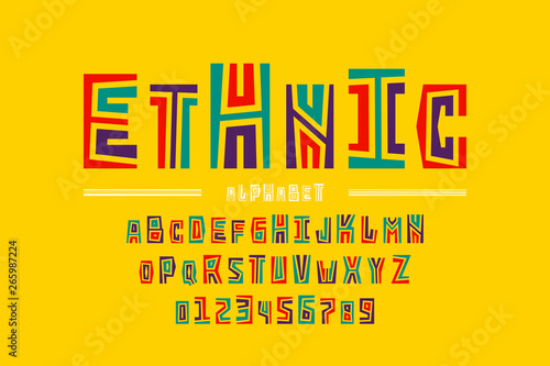 Ethnic style font design, alphabet letters and numbers Canvas Print