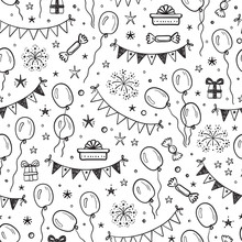 Vector Holiday Or Birthday Seamless Pattern. Hand Drawn Doodle Balloons, Buntings Flags, Gift Boxes And Stars. Black And White Festive Background. Holiday Wallpaper.