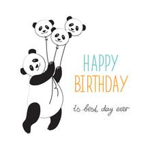 Panda Hot Air Balloon. Typogra...
