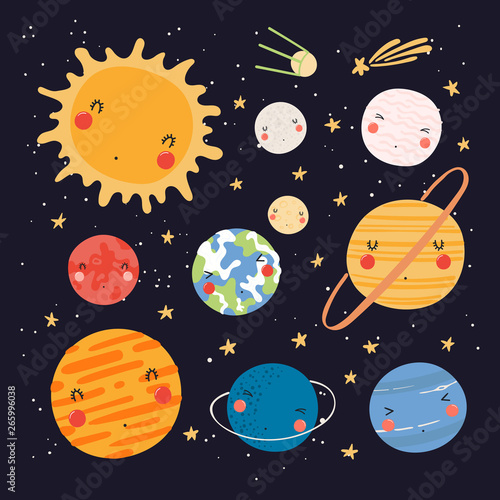 Canvas Print Hand drawn vector illustration of kawaii solar system planets and sun