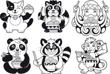 Little Cute Animals Eating Ram...