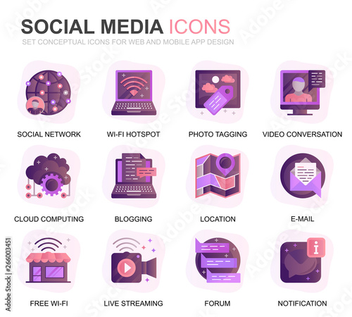 Photo  Modern Set Social Media and Network Gradient Flat Icons for Website and Mobile Apps