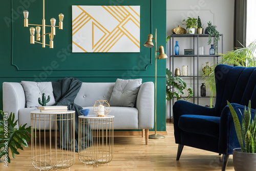 Fotografía  Gray sofa and navy armchair in modern elegant interior