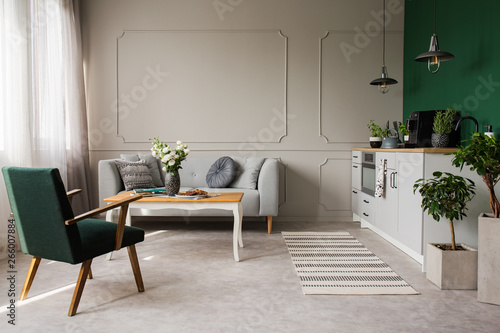 Fototapety, obrazy: Open space kitchen and living room interior with comfortable couch and retro armchair