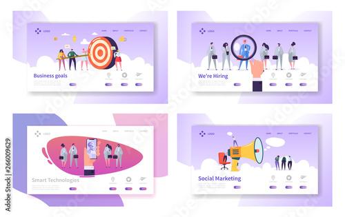 Fotomural Business Goals, Smart Technologies, Hiring, Social Marketing Website Landing Page Templates Set