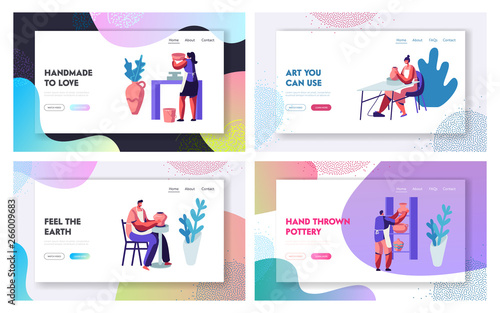 Fototapety, obrazy: Pottery Manufacturing Website Landing Page Templates Set. Artists Create Fireclay Earthenware, Crockery, Pots Using Wheel. Decorative Arts and Crafts Web Page. Cartoon Flat Vector Illustration, Banner