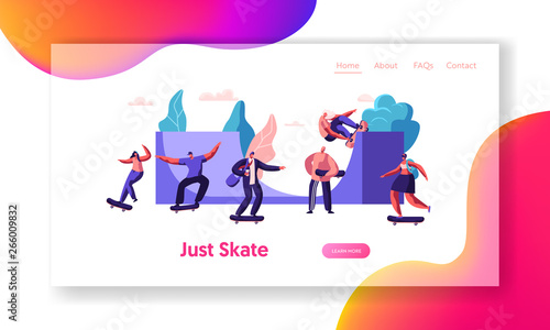 Fototapety, obrazy: Skateboarding Website Landing Page. Stylish Teenagers Making Stunts and Tricks, Jumping on High Speed on Skateboards. Extreme Summertime Activity Web Page. Cartoon Flat Vector Illustration, Banner
