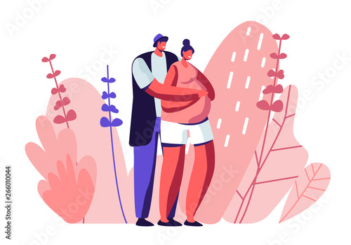 Happy Couple of Husband and Wife Prepare Become Parents Wallpaper Mural