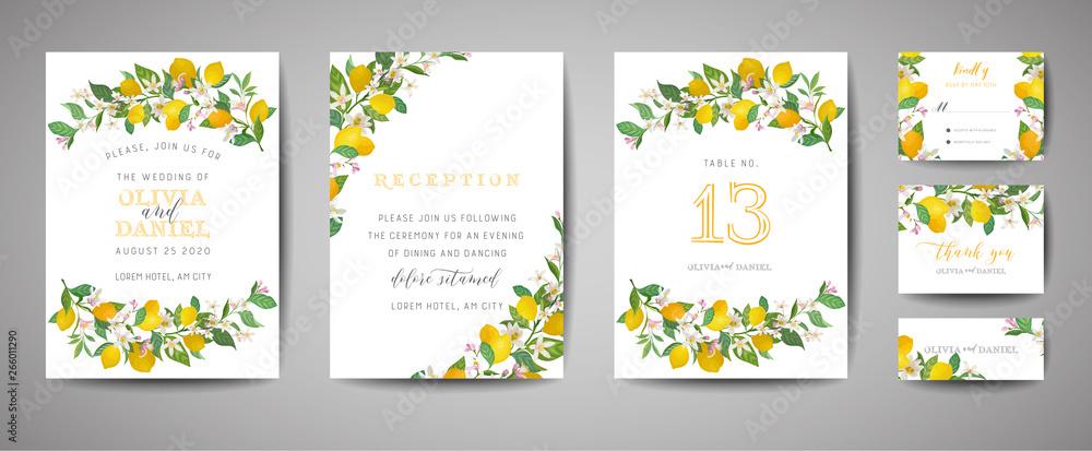 Set Of Botanical Wedding Invitation Card Vintage Save The