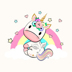 Baby unicorn with wings, flowers, rainbow, hearts and stars