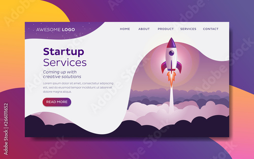 Photo Rocket launch Startup concept Landing page template