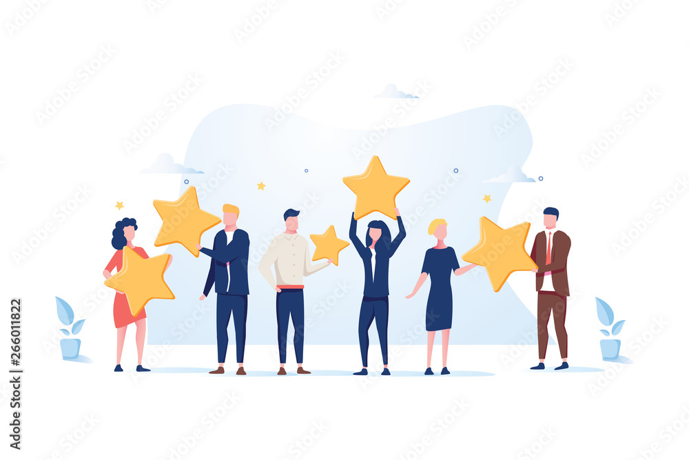 Fototapeta Customer review rating. Different People give review rating and feedback. Flat vector illustration.