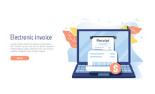 Electronic Receipt Or Invoice In Flat Vector Illustration. Digital Bill For Mobile Internet Banking Concept.
