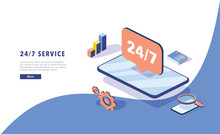 24\7 Service Concept Or Call Center In Isometric Vector Illustration. 24-7 Round The Clock Or Nonstop Customer Support.