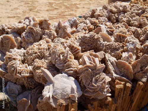 Desert roses, crystals made of the sand of Sahara and salt, horizontal photo Canvas Print