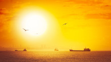 Golden Sunset With Silhouettes Of Cargo Ships And Tankers On Skyline.